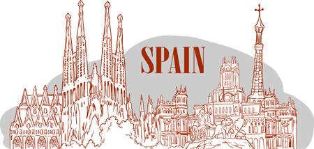 Spain detailed skyline. vector illustration Ilustração