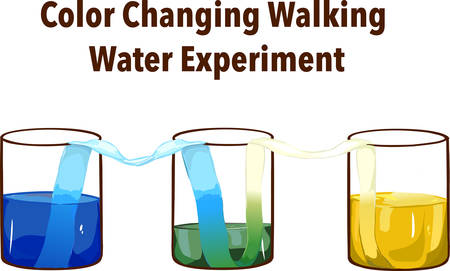 Rainbow walking water experiment in classroom. Concept of science. Glasses in row with colored water and wet paper between.