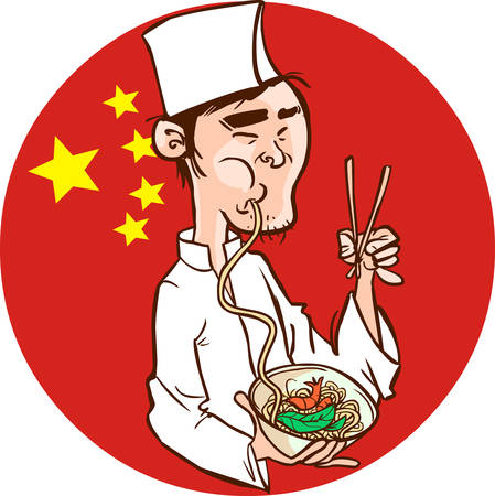 Chinese Chef holding a bowl of Chinese Noodle & Spring Roll.