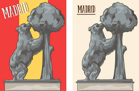 The Statue of the Bear and the Strawberry Tree stock illustration Ilustração