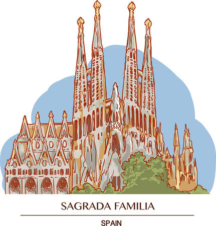 Illustration of the Sagrada Familia in Barcelona