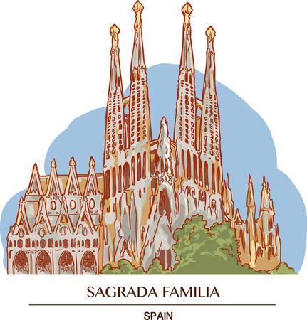 Illustrazione della Sagrada Familia a Barcellona Vettoriali