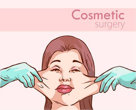 Manos de cirujano con ilustración de vector de proceso de cirugía plástica de mujer