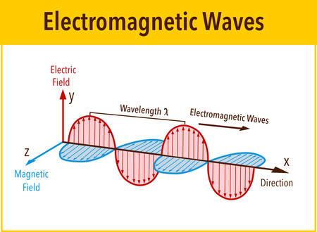 Struttura e parametri dell'onda elettromagnetica, diagramma di illustrazione vettoriale con lunghezza d'onda, ampiezza, frequenza, velocità e tipi di onde