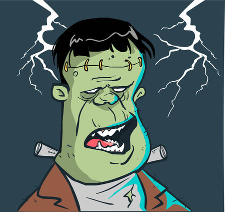 Color of frankenstein head vector illustration