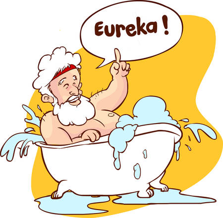 Vector illustration of a Archimedes in bath. Thumbs up eureka. ancient greek mathematician, physicist.