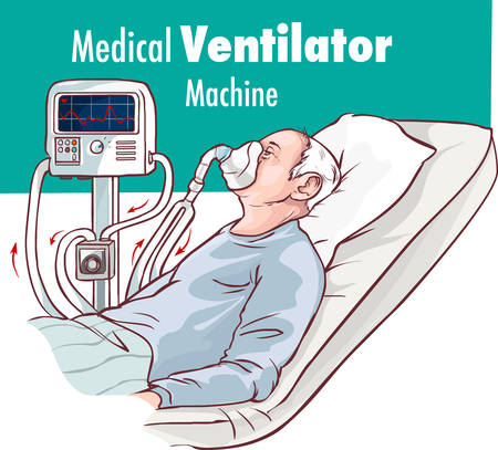 Ventilator Medical Machine Equipment fo Tracheostomy Patient Breathing in Operating Room Surgery Hospital Clinical ICU Intensive