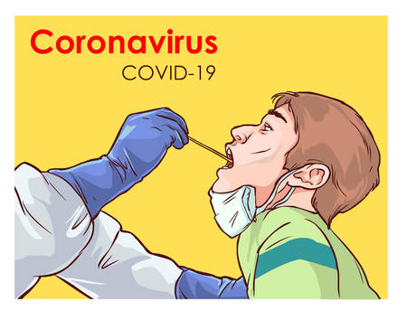 Vector illustration of doctor carrying out a swab on a patient. Covid-19.