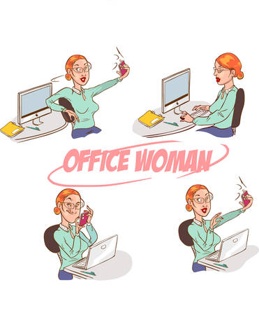 Girl taking selfie at the office. Vibrant color vector illustration.
