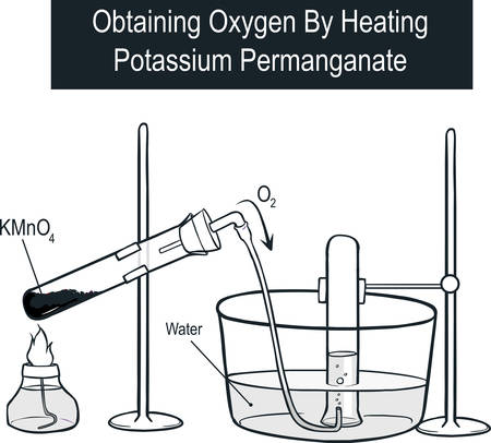 Vector illustration of Obtaining Oxygen By Heating Potassium Permanganate