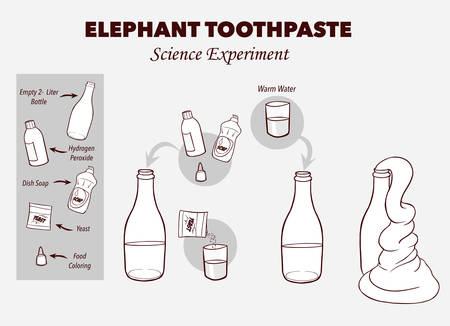 Vector illustration of Elephant's toothpaste experiment