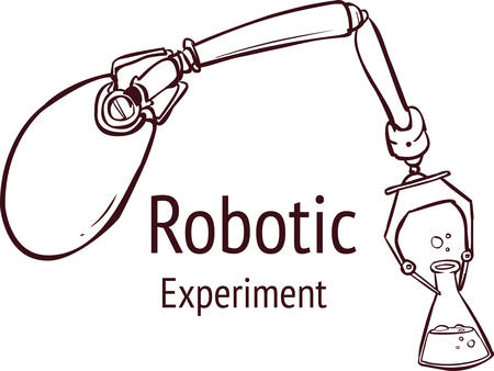 Vector illustration of Robotic arm holding test tube. Ilustracja