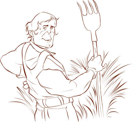 Farmer Working on Field, Hay Dried Grass Vector stock illustration