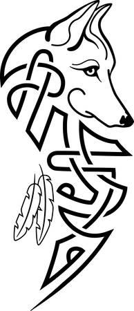 オオカミの頭 ケルトの痕跡と羽  イラスト・ベクター素材
