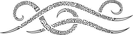 Stylized tribal ethnic line of Polynesian inspiration