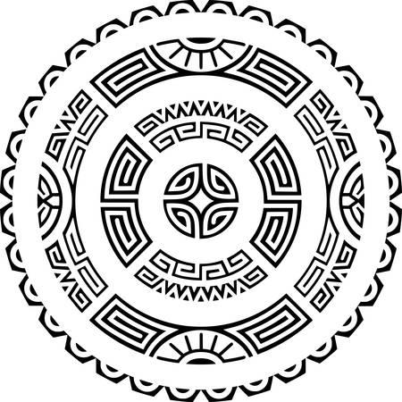 Polynesian Maori circle tattoo. Stock Illustratie