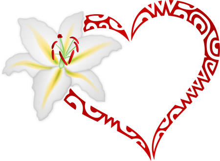 Lily flower and heart icon.