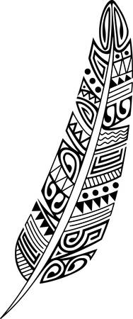 Tribal feather black and white design