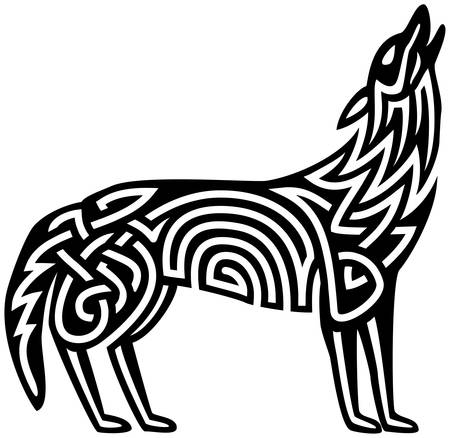 Celtic pattern in howling wolf  イラスト・ベクター素材