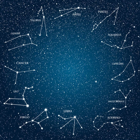 Vector objects. 12 signs of the zodiac on a background of the starry sky. Set of zodiac signs. Horoscope.