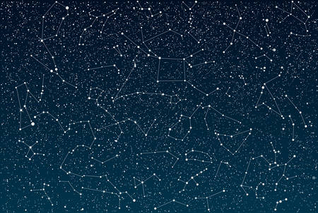 Vector objects. 12 signs of the zodiac on a background of the starry sky. Set of zodiac signs. Horoscope. Imagens - 52668052