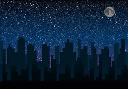 Vector silhouette de la ville dans le contexte d'un ciel étoilé.