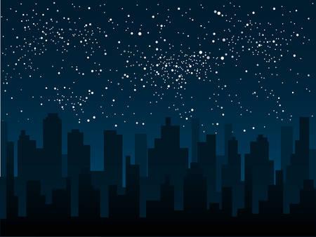 Silhouette vettoriali della città sullo sfondo di un cielo notturno stellato.