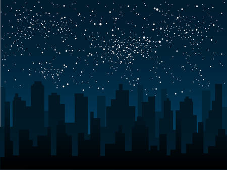 noche y luna: Vector silueta de la ciudad contra el telón de fondo de un cielo estrellado.