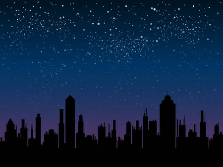 Vector silhouette of the city against the backdrop of a starry night sky. Ilustração