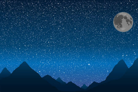 alpinism: Silhouette of the mountains in the background of the starry sky. Illustration