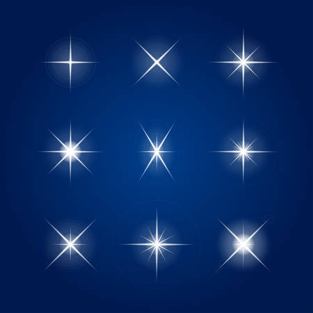 Vector element - a flash, the star on a blue background.
