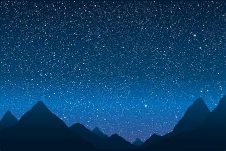 Silueta de las montañas en el fondo del cielo estrellado. Ilustración de vector