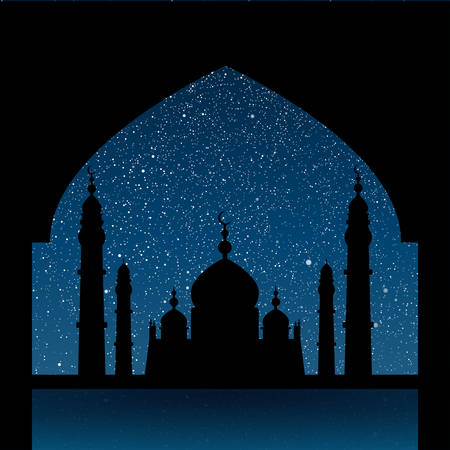 night background: Vector background. Starry night sky. Stars, sky, night. Silhouette of the mosque on a background of the sky. Illustration