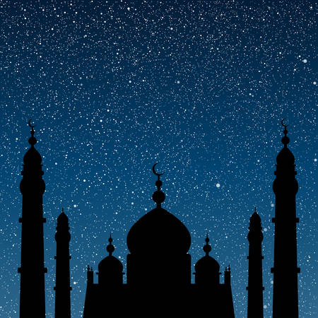 night sky stars: Vector background. Starry night sky. Stars, sky, night. Silhouette of the mosque on a background of the sky. Illustration