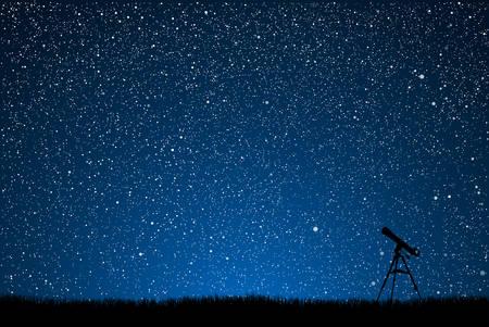 별이 총총 한 하늘의 배경에 망원경의 실루엣입니다.