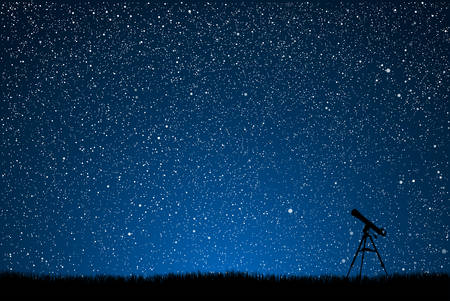 Silhouette of a telescope on a background of the starry sky.