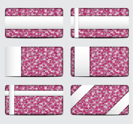 Vector pink sequin gift cards with white background.