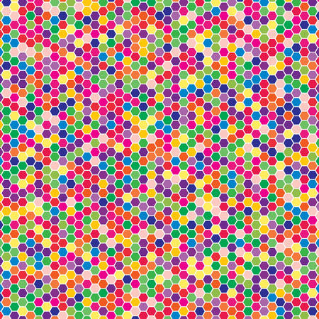 interior cell: Vector texture in the form of multi-colored hex tiles. Illustration