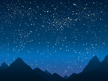 trek: Silhouette of the mountains in the background of the starry sky. Illustration