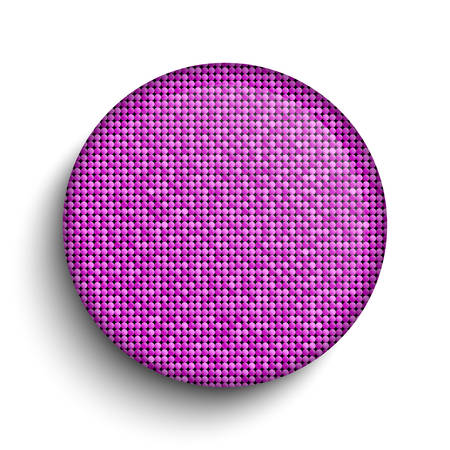 Pink sequin circle button on white background.