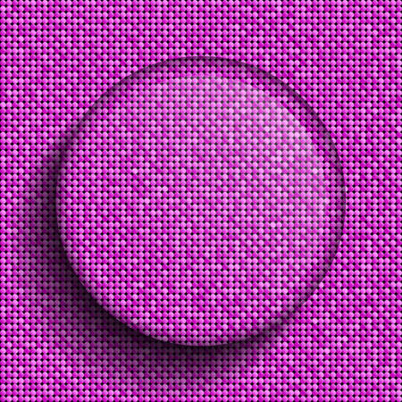 retro party: Vector glass circle button on shiny pink paillettes background . Sparkle glitter background. Glittering sequins wall. Illustration