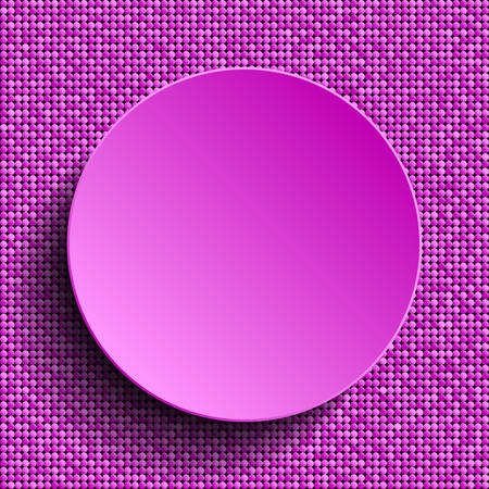 Vector pink circle button on shiny pink paillettes background . Sparkle glitter background. Glittering sequins wall. 矢量图像