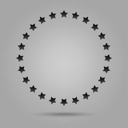 shiny icon: Vector abstract background. Grey stars in a circle with shadow. Eps 10.