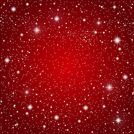 Vector background in the form of a starry sky on a red background. Illustration