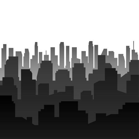 Vector background. Dark silhouette of the city.