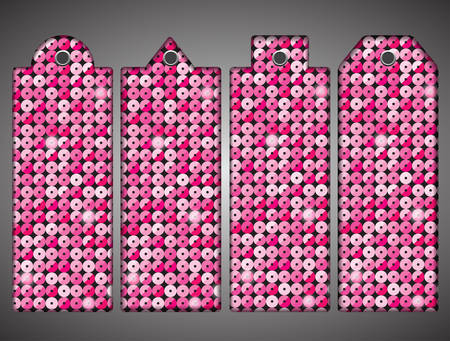paillette: Price tag, tag with pink sequins. Sparkle glitter. Glittering sequins wall.