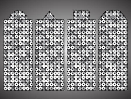 spangle: Price tag, tag with silver sequins. Sparkle glitter. Glittering sequins wall. Illustration