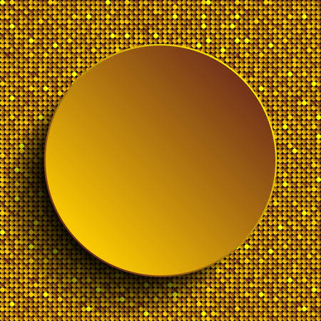 spangle: Vector gold circle button on shiny gold paillettes background . Sparkle glitter background. Glittering sequins wall.