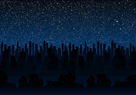 Cielo Stellato Sfondo.Silhouette Della Citta Di Notte Su Uno Sfondo Di Cielo Stellato