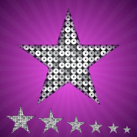 silver star: Vector silver star with elements of sequins, pallets and sparkles on a purple background.